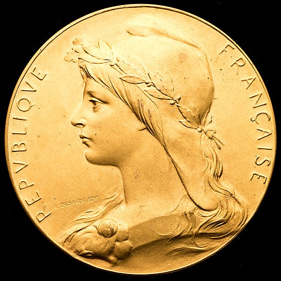 French Republic 1924 Olympic Games 'gold' award medal,  in gilt-bronze