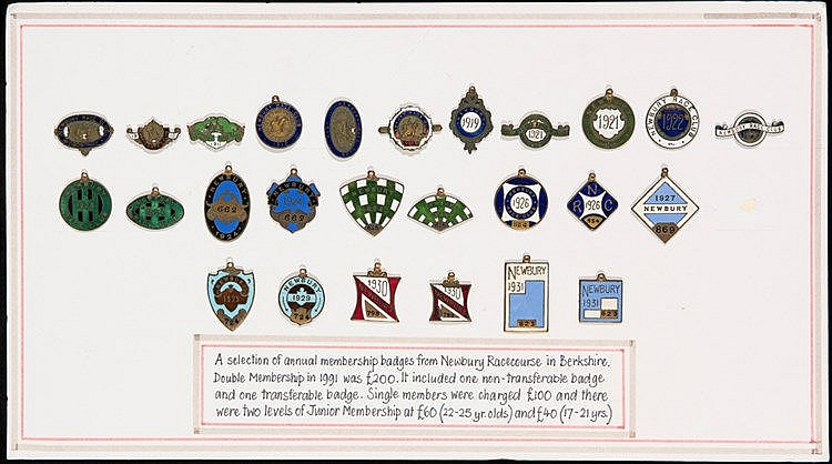 Collection of Newbury races member's badges,  a run of a single badge