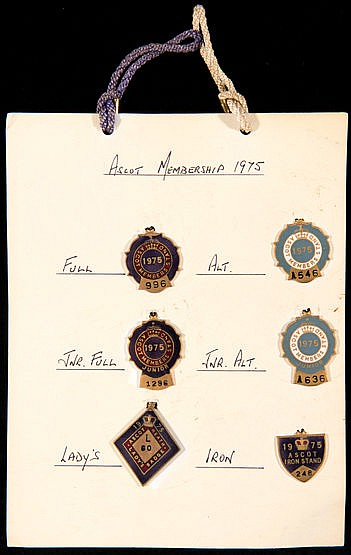 Royal Ascot Members Stand Badges,  1973-1990 18 years of all 6 member'