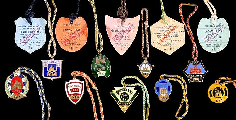 Member's badges for Gatwick Racecourse,  1921, 1924, 1925, 1926, 1927,