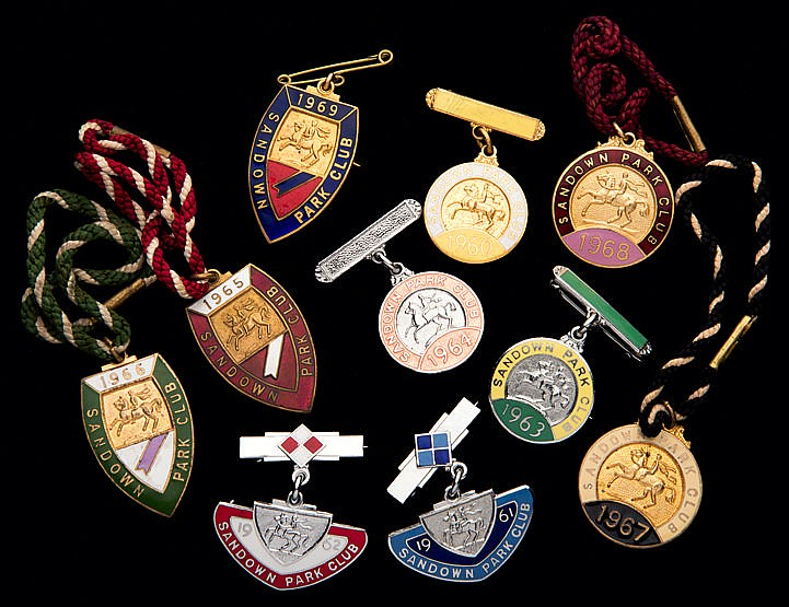 Ten groups of Sandown Park badges, one for each of the years 1960 to 1