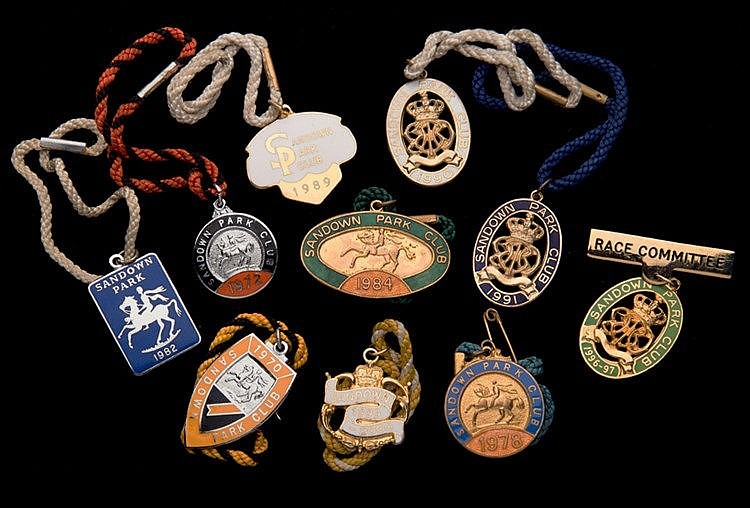 Seven groups of Sandown Park badges, one for each of the years 1970 to