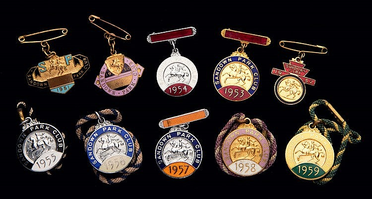 Ten groups of Sandown Park badges, one for each of the years 1950 to 1
