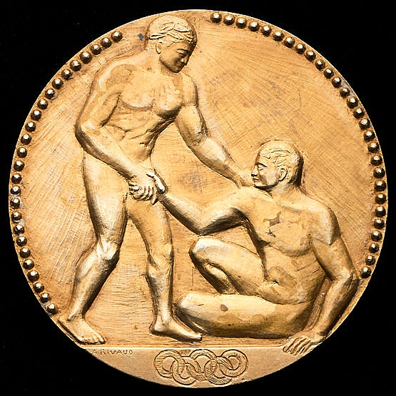 Paris 1924 Olympic Games gold first place winner's medal,  goldplated