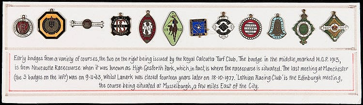 Collection of 12 racecourse member's badges,  Manchester & Counties 19