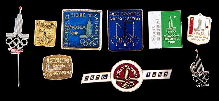A good group of nine Moscow 1980 Olympic Games broadcasters pin badges