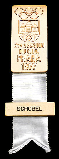 International Olympic Committee member's badge for the Prague 1977 62n