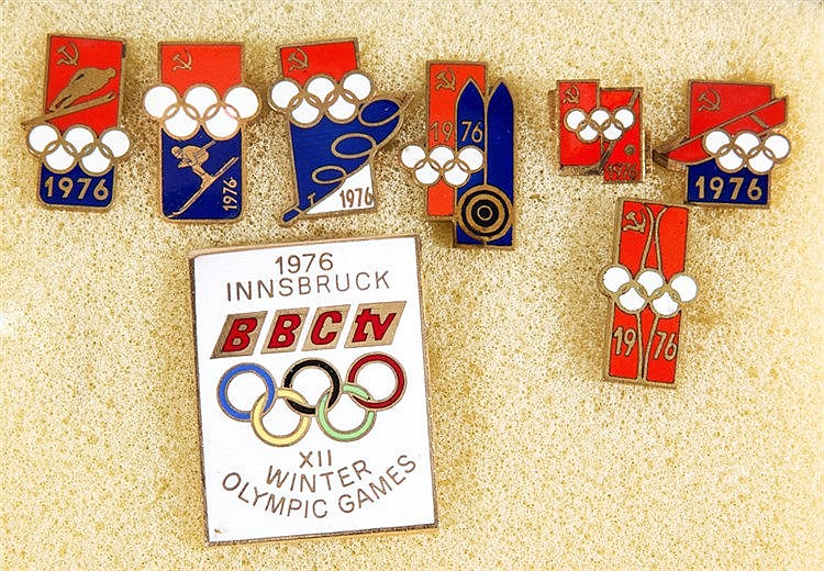Seven Russian pins for the 1976 Innsbruck Winter Olympic Games,  the e