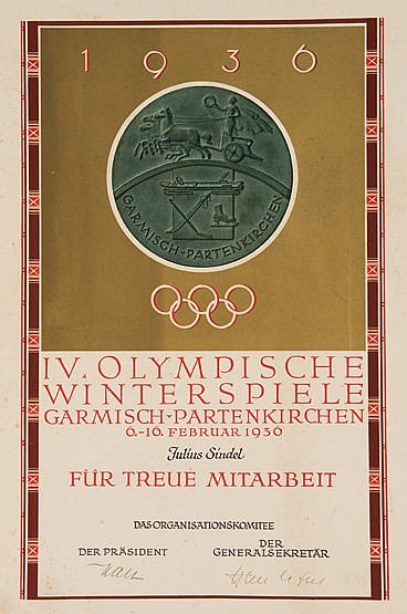 1936 Garmisch-Partenkirchen Winter Olympic Games diploma presented to