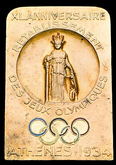 Athens 1934 International Olympic Committee 32nd Session badge, also