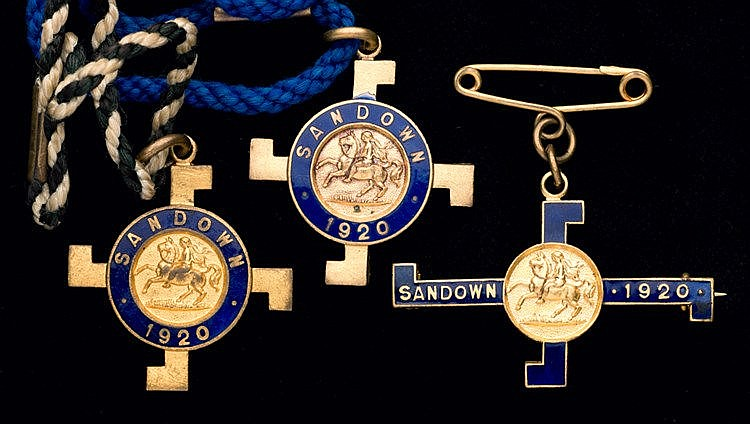 A group of three 1920 Sandown Park badges,  consisting of a matching p