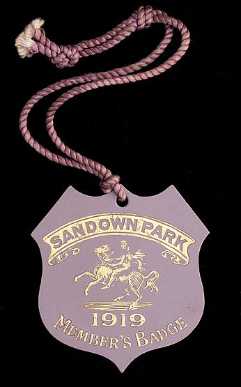 A 1919 Sandown Park badge,  numbered '619' on the reverse, such badges
