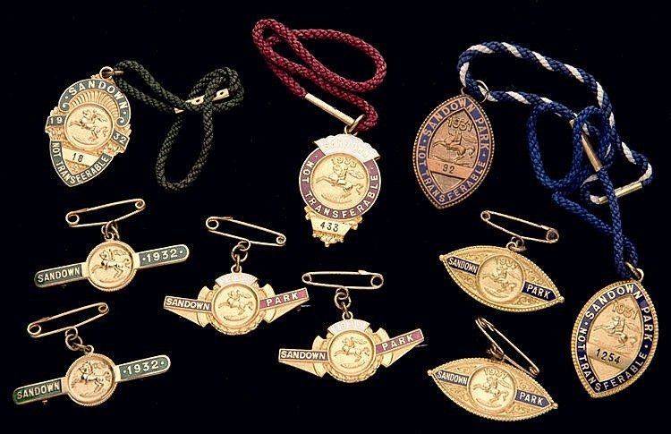 Three groups of Sandown Park badges, for the years 1931, 1932 & 1933,