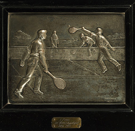 A fine silver-plated metal relief plaque awarded as 1st prize in the G