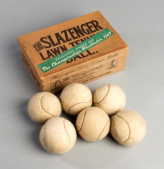 Boxed set of six Slazenger lawn tennis balls,  bearing a slogan label