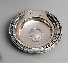 Racing plate worn by Moon Madness when winning the 1986 St Leger,  set