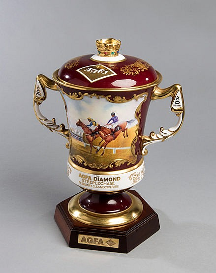 The trophy for the 2001 Agfa Diamond Steeplechase at Sandown Park,  in