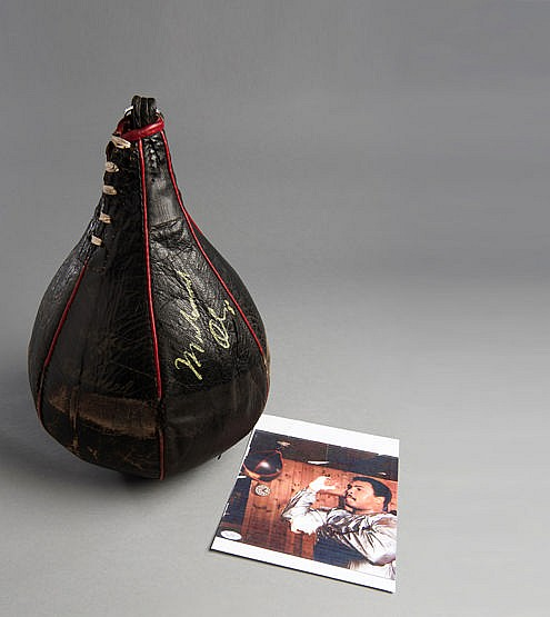 Muhammad Ali used and signed Everlast speed bag from his training camp