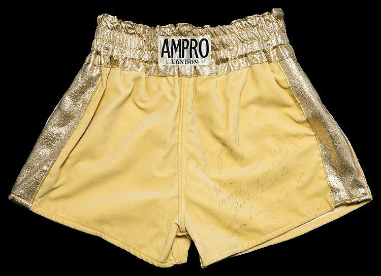 John Conteh signed boxing trunks,  by Ampro of London, yellow with gol