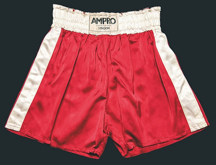 The boxing trunks worn by Cassius Clay in the fight v Henry Cooper at
