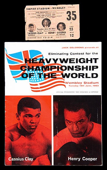 Programme and ticket for the Cassius Clay v Henry Cooper fight at Wemb