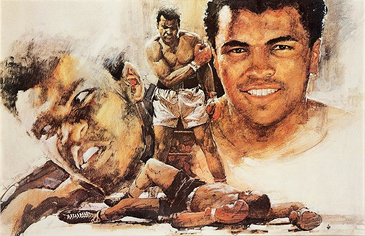 A group of four Muhammad Ali framed presentations, comprising: a larg
