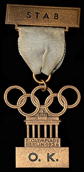 Berlin 1936 Olympic Games Organising Committee staff member's badge,
