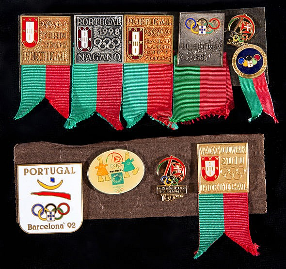 10 Portuguese Olympic team badges,  covering Olympic Games between 199