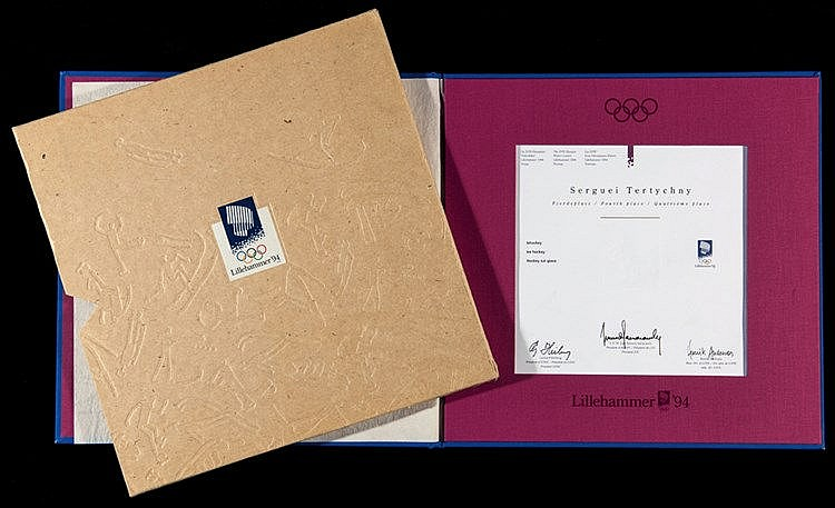 A Lillehammer 1994 Winter Olympic Games 4th place diploma awarded to t