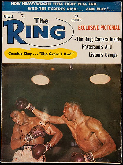 Cassius Clay signed Ring Magazine October 1962, signed in ink to the