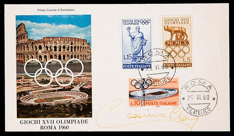 Cassius Clay signed Rome 1960 Olympic Games postal cover,  postmarked