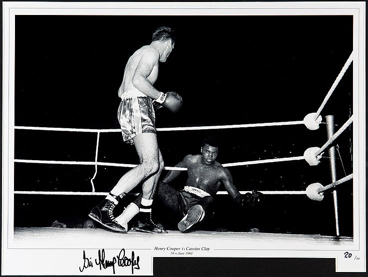 Four signed Sir Henry Cooper photographic prints, all from the same l