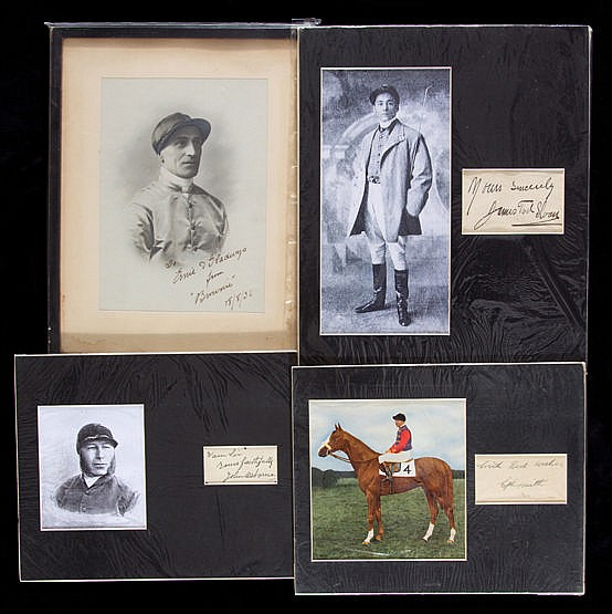 Four signed picture presentations of jockeys,  i) a printed portrait o