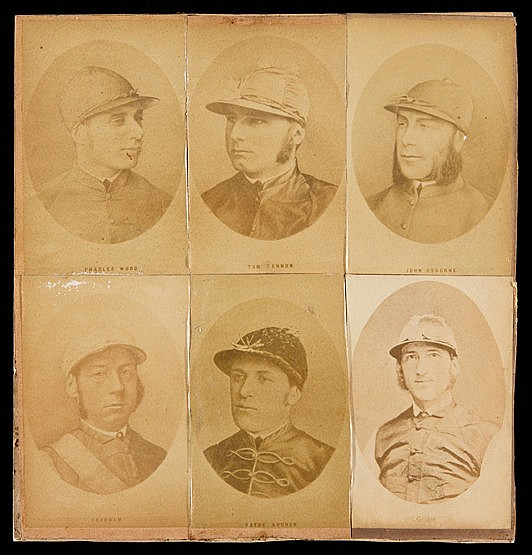 Six Victorian Cartes-de-visite of jockeys, laid down on card, compris