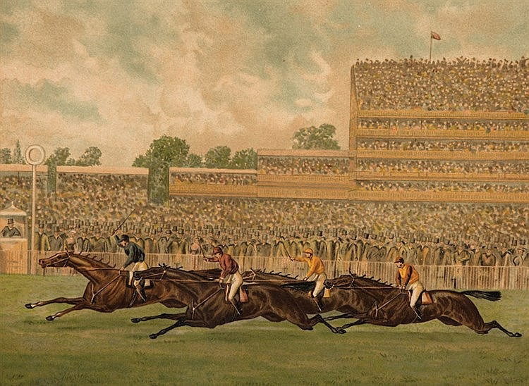 A set of four colour lithographs depicting the Epsom Derby, featuring