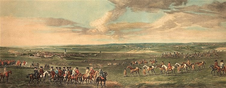 After Peter Tillemans (c.1684-1734)  KING GEORGE 1st AT NEWMARKET-1722