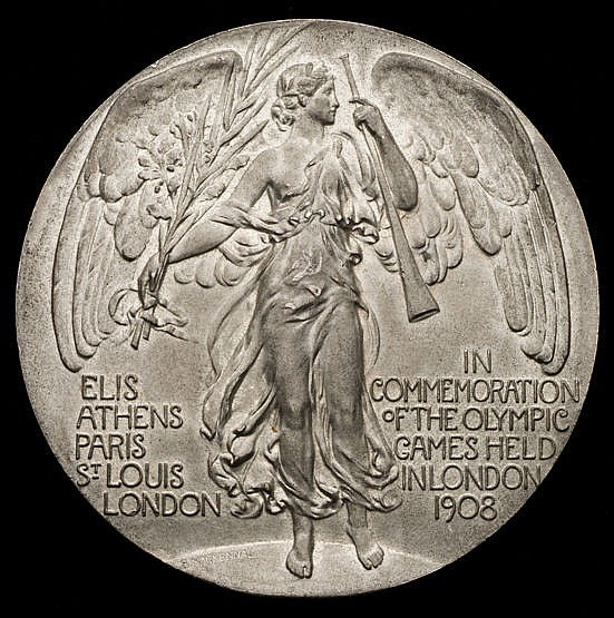 London 1908 London Olympic Games participation medal,  white metal, de