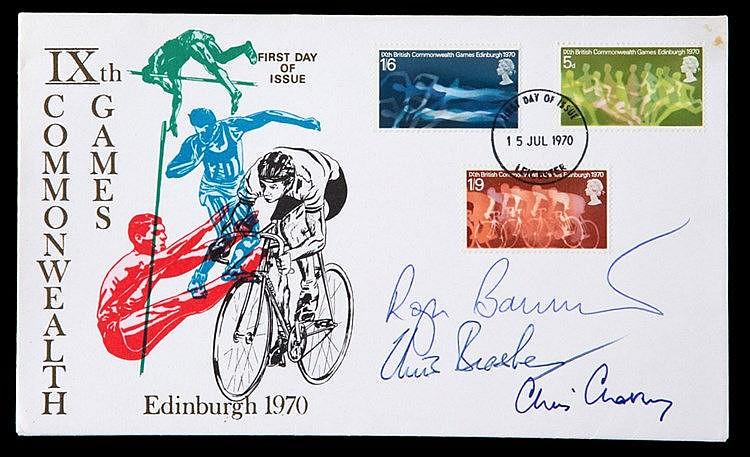 Postal cover signed by Roger Bannister, Chris Brasher & Chris Chataway