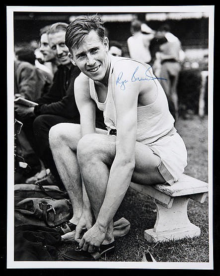 Roger Bannister signed photograph, 8 by 10in. b&w;, signature in blue