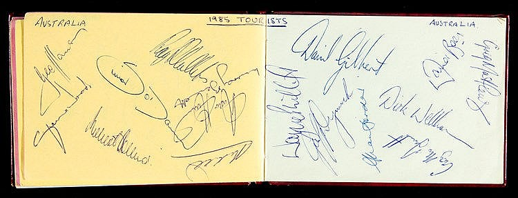 A 1980s cricket autograph album,  including the Australian Ashes teams
