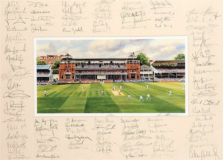Multi-signed Lords cricket print,  with central print of Lords Cricket