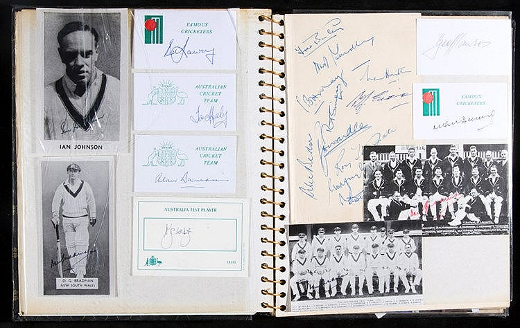 Cricket autograph album, containing signed photographs, postcards, in