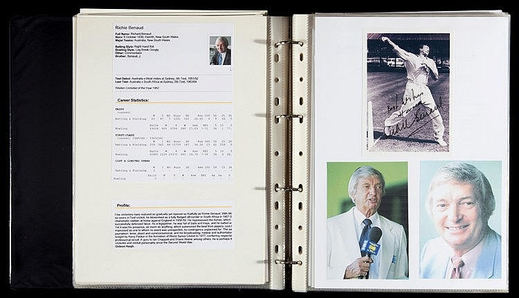 A studiously compiled autographs album of England and Australia cricke