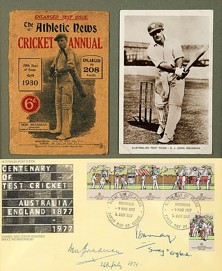 A 1977 Centenary of Test Cricket postal cover signed by the former Aus