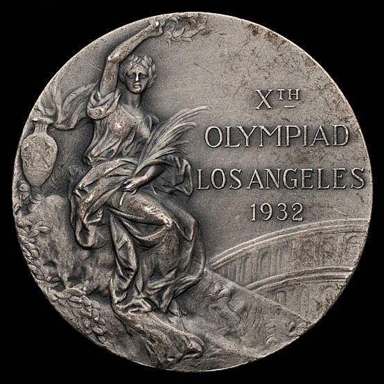 Los Angeles 1932 Olympic Games silver second place prize medal,  desig
