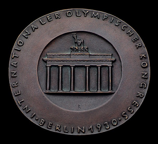 Berlin 1930 9th Olympic Congress medal,  large bronze, 96 by 90mm., fe