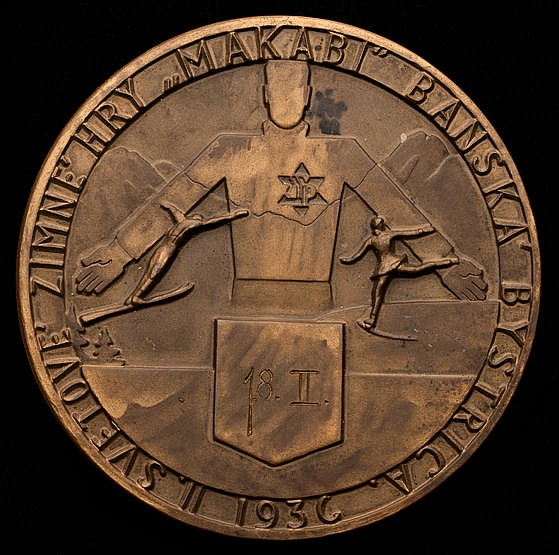 1936 Second Maccabiah Winter Games 1st place prize medal, bronze, 65.
