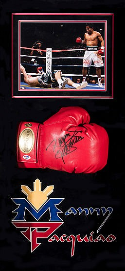 A signed Manny Pacquiao boxing glove presentation, a branded red righ