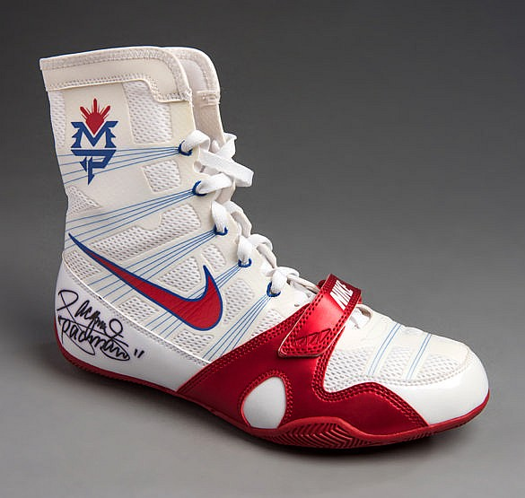 A Manny Pacquiao signed boxing boot,  a right-footed white & red Nike