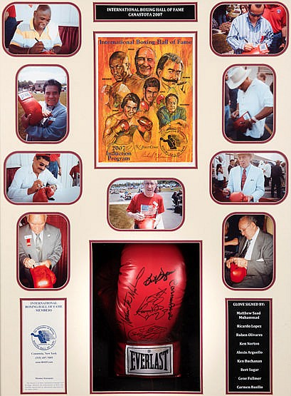 International Boxing Hall of Fame signed glove framed presentation, c